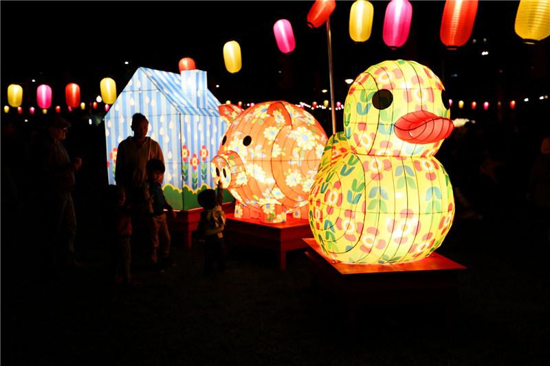 可爱的动物造型花灯倍受孩子喜爱
